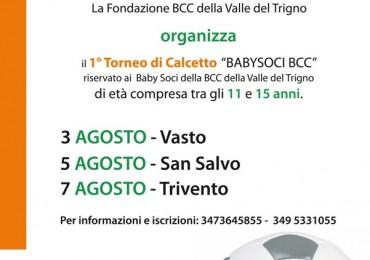 """Primo torneo di calcetto """"Baby soci BCC"""" a Vasto, San Salvo e Trivento"""